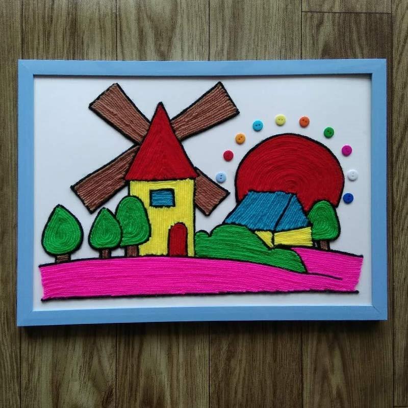 益智儿童手工diy创意材料包毛线纽扣画趣味亲子手工贴画a4风车 8k图片