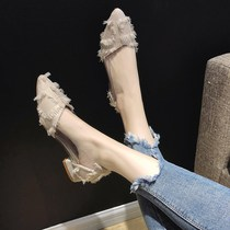 网红尖头单鞋女平底2020春季新款仙气淑女百搭仙女鞋晚晚风温柔鞋