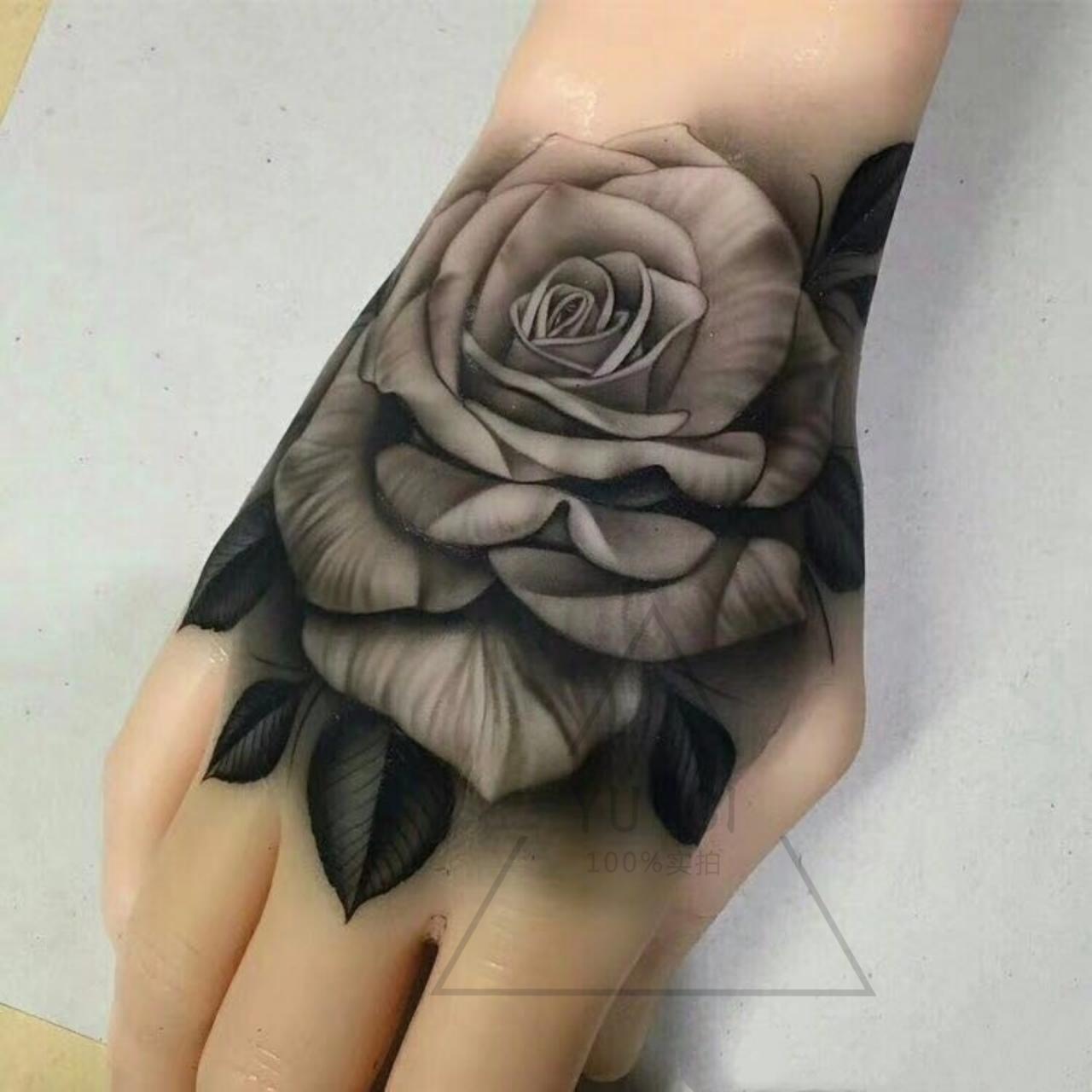 手背手指黑色玫瑰钻石十字架仿真防水持久男女欧美风纹身贴