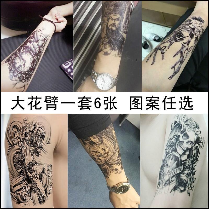 热卖花臂纹身贴男女防水持久手臂仿真逼真性感刺青遮痕纹身贴纸3d半臂