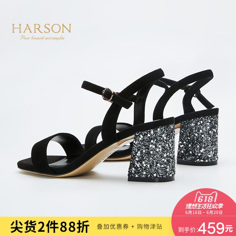 哈森2018夏季新款羊皮亮片粗跟女鞋 一字扣带高跟凉鞋图片
