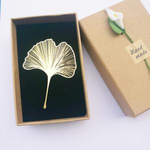 热卖「精纹叶脉 银杏叶」颜值黄铜书签金属镂空树叶精密工艺礼品刻字图片