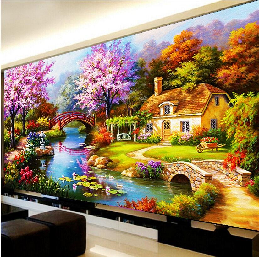 满钻5d钻石画十字绣客厅梦幻家园欧式花园小屋钻石绣风景画新款图片