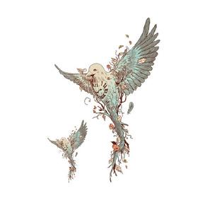 安全环保 时钟树鸟纹身贴 胸贴花腿花臂防水 男女纹身贴纸 刺青贴