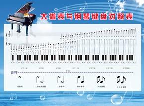 大谱表与钢琴键盘对照表乐器知识展板挂图装饰画写真图片