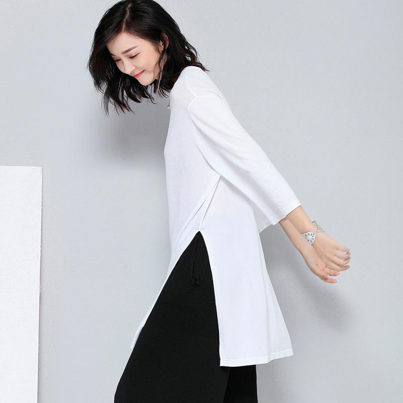 冰丝针织衫T恤女宽松大版中长款两边侧开叉洋气大体七分中袖上衣
