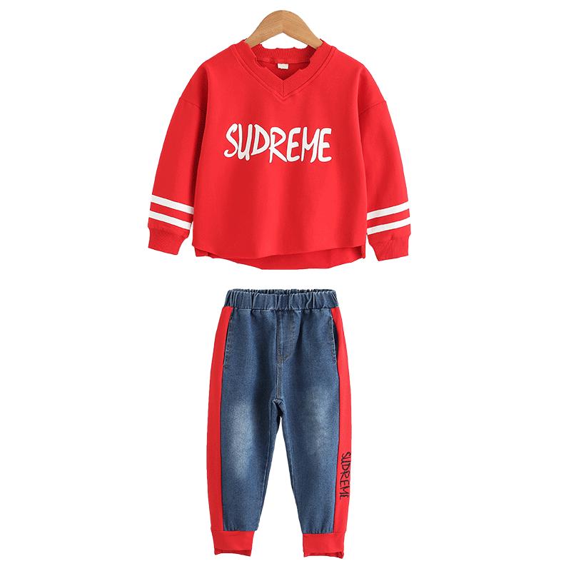 2019新款春季韩版中大童套装女童洋气两件套儿童卫衣牛仔裤套装潮