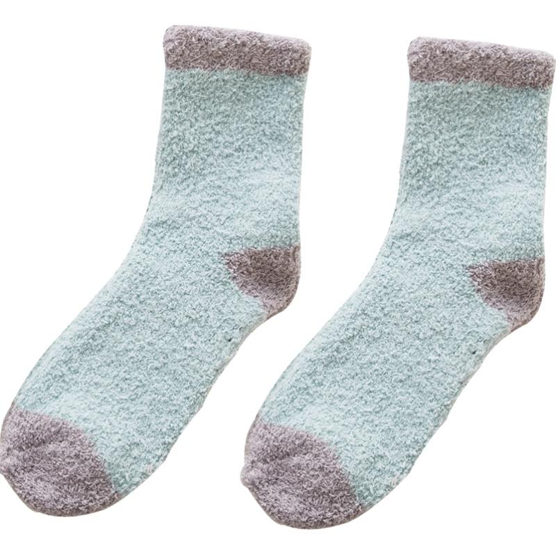 珊瑚绒袜子女秋冬季加绒加厚保暖睡眠家居地板中筒月子袜孕妇产后