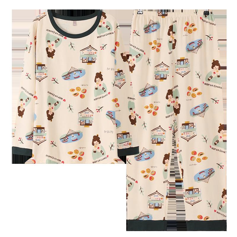 睡衣女春秋季纯棉长袖可外穿秋冬全棉2020年新款潮女士家居服套装