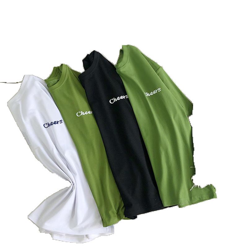 牛油果绿短袖T恤女学生韩版夏季新款宽松学院风半袖字母印花上衣
