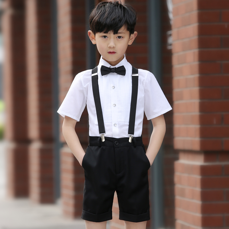 WHITE PLEATED BOY'S SLING (WHITE SHORT SLEEVE + BLACK SHORTS + STRAP + BOW TIE)
