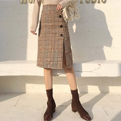2017 autumn and winter new high-waisted skirt single-breasted open-cut skirt in the long wool plaid A word skirt women