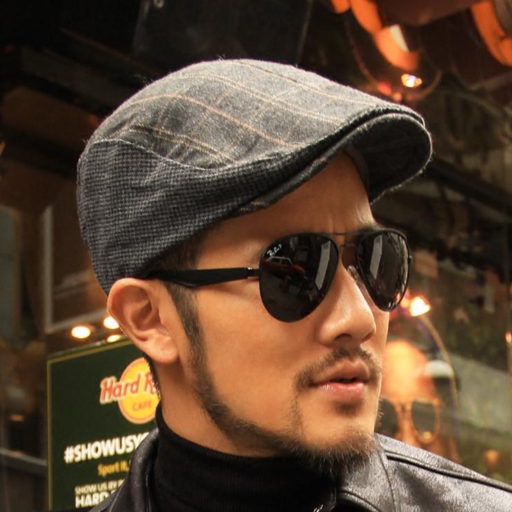 冬季潮男帽子鸭舌帽子英伦格纹贝雷帽男款毛呢帽格子画家C148