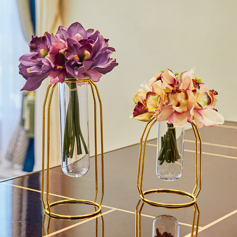 Golden test tube flower vase two-piece set [high section + short section] to send floral set