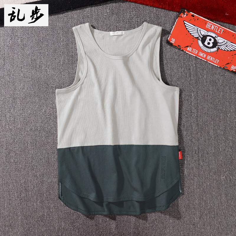 e35ae92f97 Summer Europe and the United States high Street loose color vest men Street  Hip Hop Hot Card T-shirt couple T-shirt