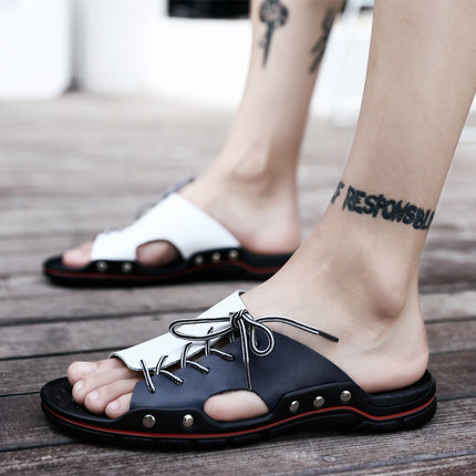Slippers men summer leather slippers 45 extra large 47 sandals new men's summer beach shoes tide 46