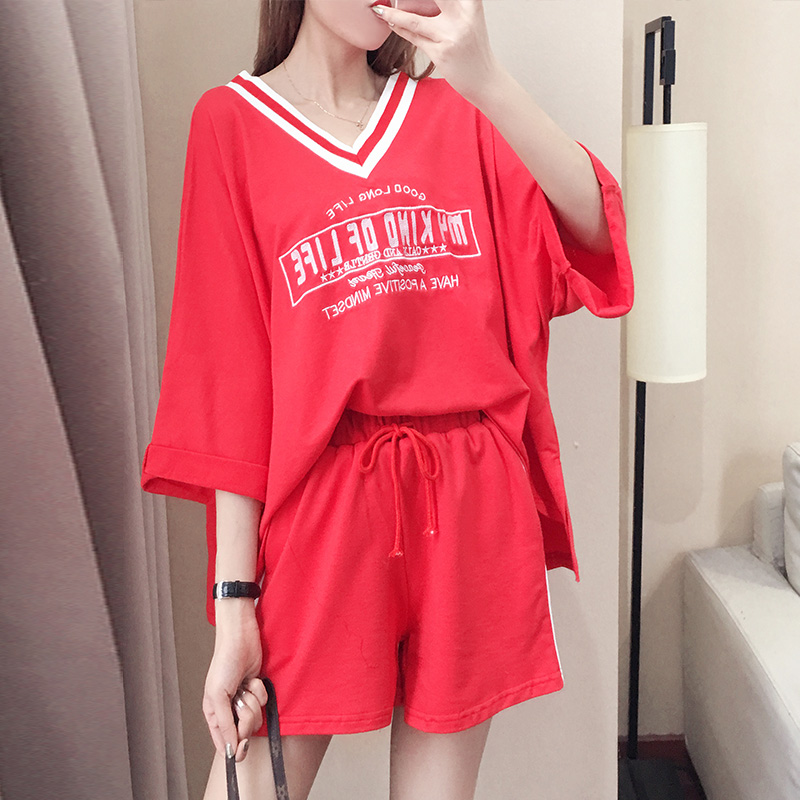 41469f0bb2616 Sports suit female summer new 2018 short sleeve large size loose ...