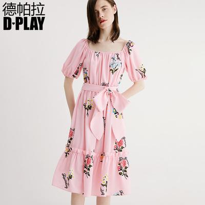DPLAY2018 mùa hè mới Châu Âu và Mỹ hồng in bow tie eo ngắn tay đầm eo cao váy Sản phẩm HOT