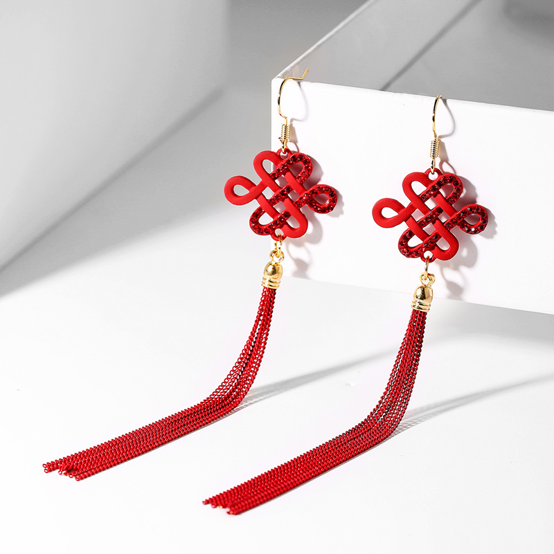 RED CHINESE KNOT EAR HOOK-H543