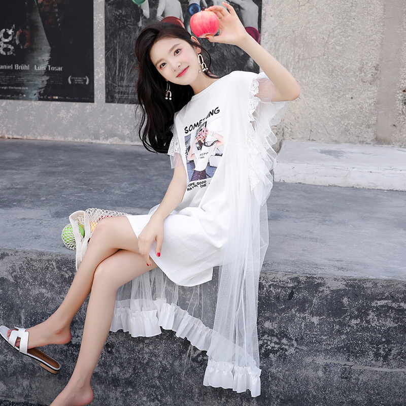 6c775deaf7249 Mesh dress 2019 new dress summer very fairy French minority fairy skirt  popular fake two skirts