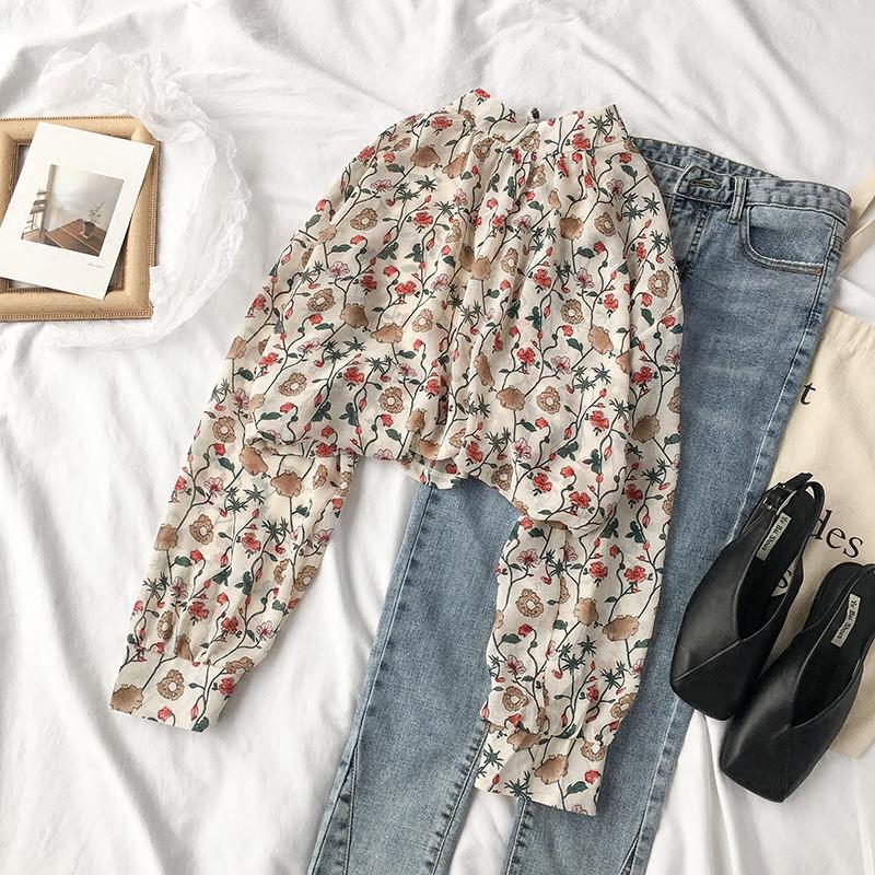 Весна 2018 новый корейский женщина департамент малого цветочный рубашка с длинными рукавами женщина дикий шифон рубашка лето солнцезащитный крем рубашка