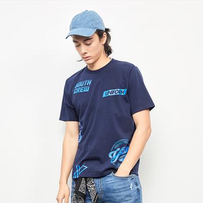 Lee Nam 2018 Mùa Xuân và Mùa Hè Mới X-LINE Màu Xanh Hải Quân Ngắn Tay Áo T-Shirt L319182LQB8D Áo phông ngắn