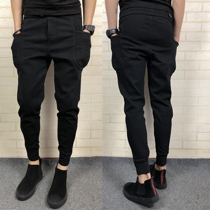 社会精神小伙修身小脚裤男裤牛仔裤纯色哈伦裤铅显瘦长裤春季新款