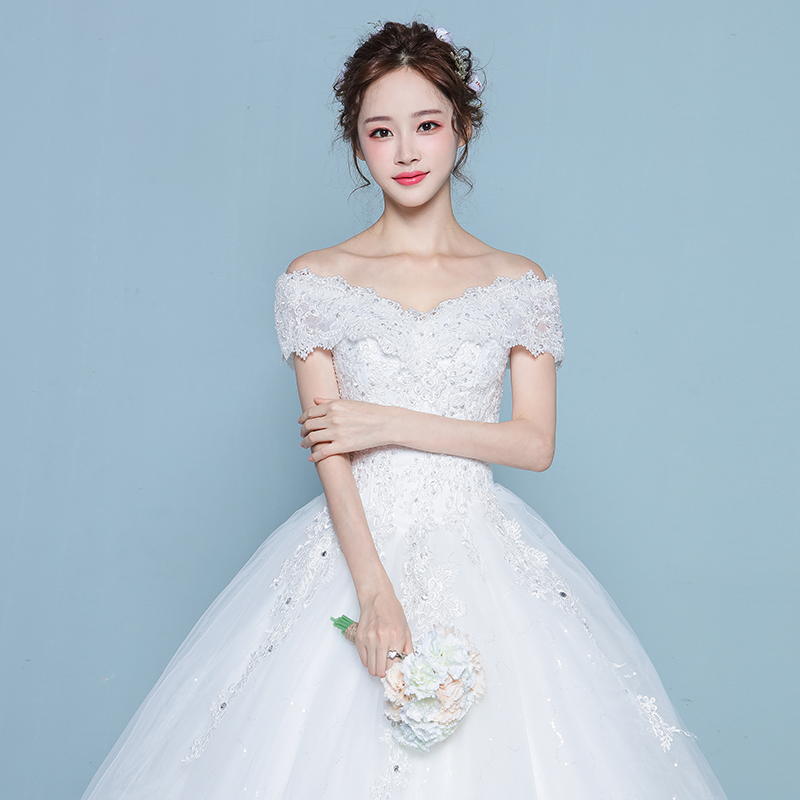 A word shoulder wedding dress 2018 new Korean bride simple large ...