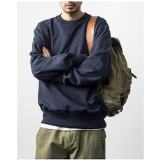 navy craft custom heavy terry cloth foundation tri-color round neck pullover sweater Terry cloth