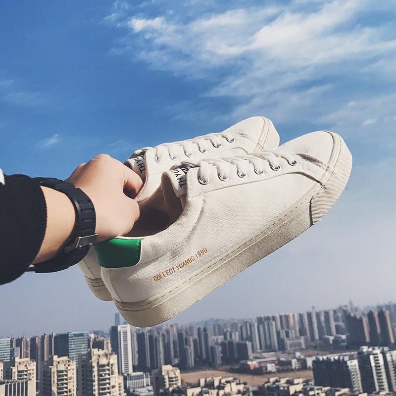 @港仔文艺男 男士鞋子休闲鞋韩版潮流低帮帆布鞋学生透气板鞋男鞋