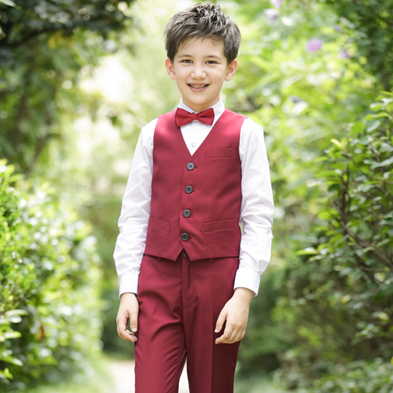 WINE RED (SHIRT + PANTS + WINE RED VEST + BOW TIE)