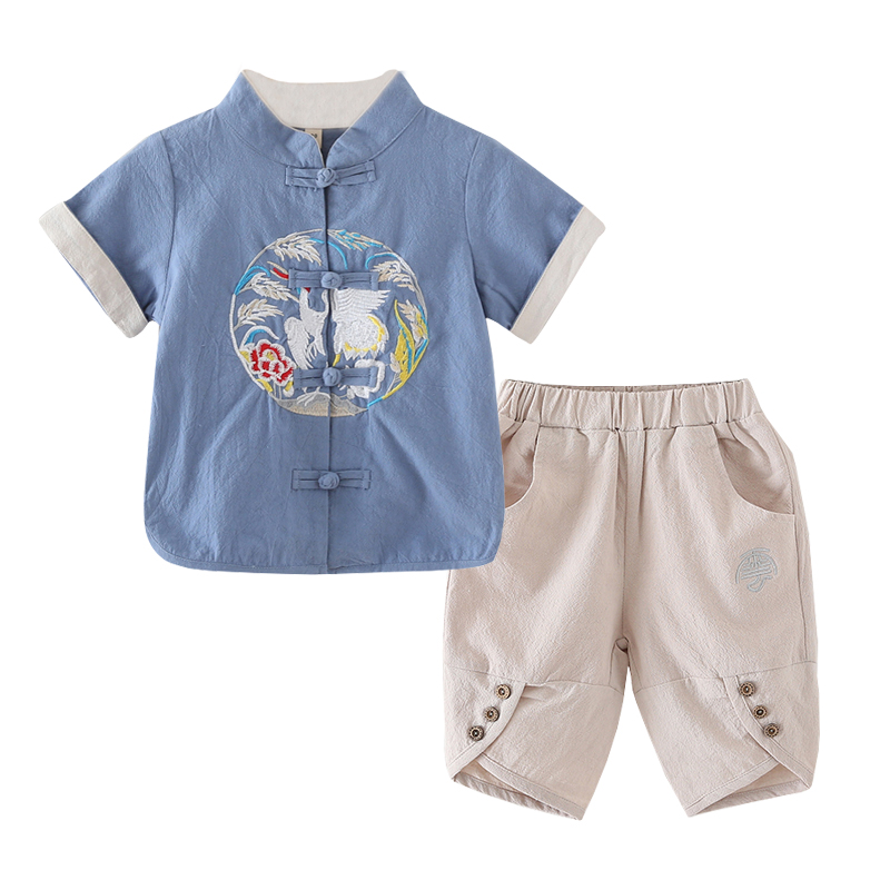 d58f1b050 Boy short sleeve retro cotton Ma Han suit children's summer national wind  set year old female baby Chinese style tang costume. RM 36.19. 2018 New ...