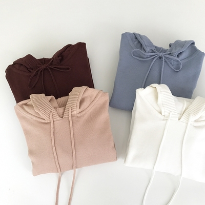 Hello MLZ autumn and winter new casual school casual wear hooded sweater knit sweater ladies