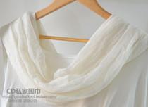 日系乳白色纯白色桑蚕丝莫代尔混纺围巾 超柔明星同款丝巾披肩