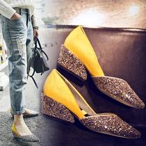 新款尖头女鞋浅口真皮马毛坡跟鞋中跟鞋拼色欧美粗跟鞋春秋单鞋女