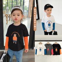 辰辰妈婴童装洋气男孩帅气假两件小熊t恤长袖春款男儿童宝宝上衣