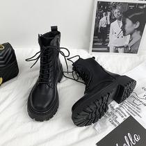 马丁靴女春秋单靴透气网纱镂空夏薄款瘦瘦靴内增高2021年新款短靴