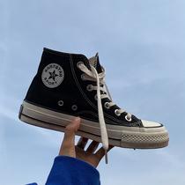许刘芒 韩国街拍万年经典款百搭复古1970s复刻黑色高帮帆布鞋女
