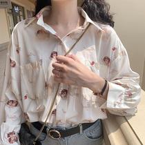 长袖衬衫女2021宽松外穿复古港味百搭心机设计感小众轻熟外套上衣