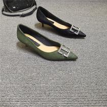 轻奢女鞋2020新款浅口水钻马毛单鞋女细跟百搭气质中跟尖头高跟鞋