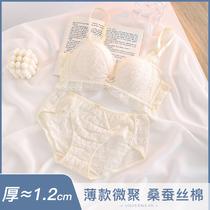无钢圈内衣女性感蕾丝花边上托聚拢小胸平胸专用日系文胸罩调整型