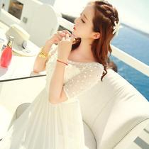沙滩裙海边度假露肩大码v领吊带雪纺连衣裙女夏气质收腰显瘦长裙