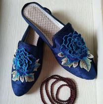 民族风布鞋平跟夏季凉拖鞋绣花鞋软凉布鞋防滑中国风复古女鞋包邮