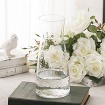 日系锤纹小透明玻璃花瓶简约创意水培插花花器清新客厅干花瓶摆件