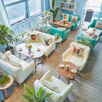 网红店咖啡厅甜品店桌椅组合简约休闲洽谈奶茶店餐饮店咖啡馆沙发