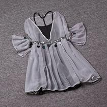 有库存+欧洲站夏装女2018新款时尚显瘦吊带上衣两件套雪纺衫娃娃