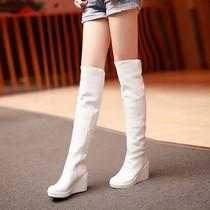 韩版秋冬过膝靴子防水台高跟长靴长筒女靴坡跟瘦腿真皮高筒靴女鞋