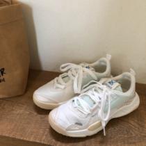 林先参 白色运动鞋女夏季透气休闲老爹鞋春款小白鞋ins百搭潮鞋子