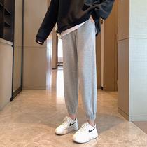 2021春秋运动裤女裤子宽松束脚薄款小个子灰色显瘦秋季休闲卫裤