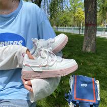 易少年 甜酷鞋子女拼色藕粉板鞋ins超火低帮国潮百搭运动鞋小白鞋